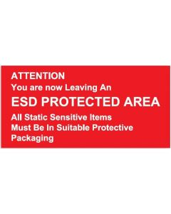 ESD Rigid Sign Attention Leaving an ESD Protected Area Rigid 300 x 150