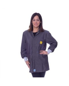 Dark Grey ESD Lab jacket with elastic cuffs