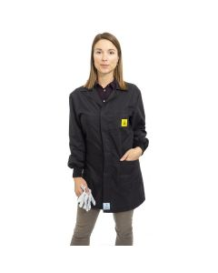 Black ESD Lab Jacket with elastic cuffs