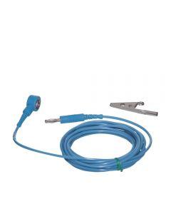 ESD Straight Grounding Cord 10mm snap to 4mm jack plug