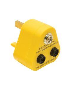 Earth Bonding plug with 10mm stud and banana sockets