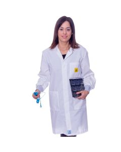White ESD Lab Coat with elastic cuffs