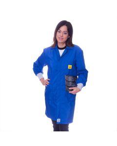 Royal Blue ESD Lab Coat with elastic cuffs