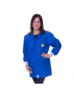 Royal Blue ESD Lab jacket with elastic cuffs