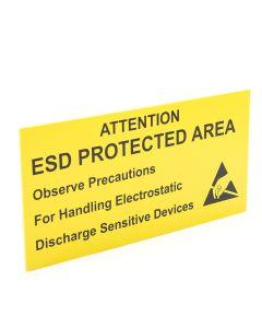 Wall Sign Attention ESD Protected Area Rigid 300 x 150